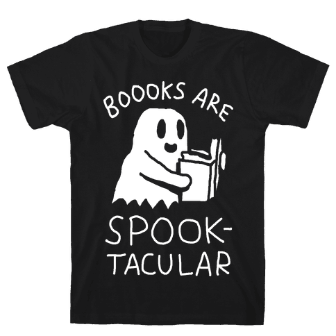 Boooks Are Spooktacular Ghost Mens T-Shirt