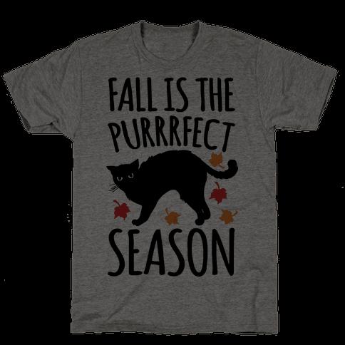 Fall Is The Purrrfect Season Cat Parody Mens T-Shirt