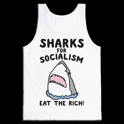 Sharks For Socialism Parody Tank Top