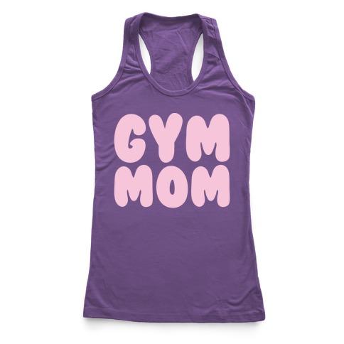 Gym Mom White Print Racerback Tank Top
