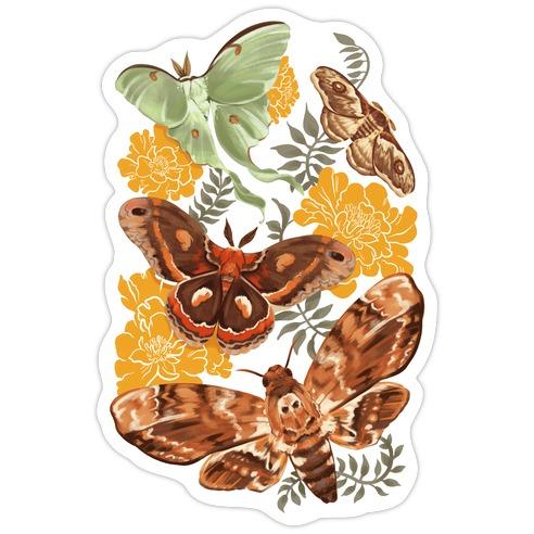 Moths & Marigolds Die Cut Sticker
