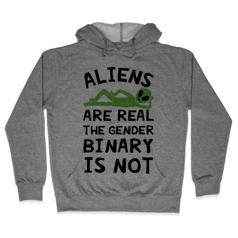 Aliens Are Real The Gender Binary Is Not Hooded Sweatshirt