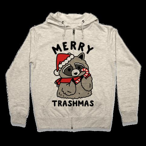 Merry Trashmas Raccoon Zip Hoodie