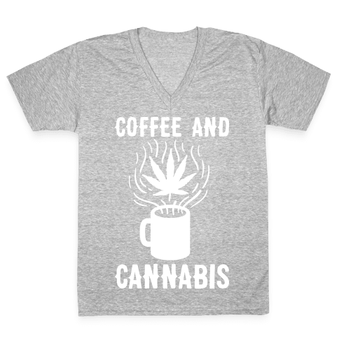 Coffee And Cannabis V-Neck Tee Shirt