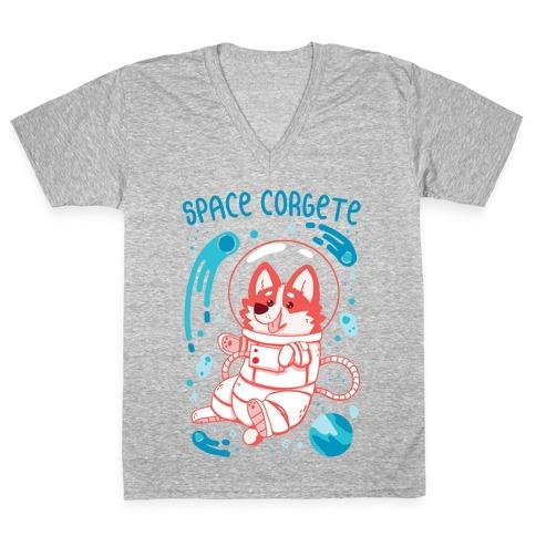 Space Corgete V-Neck Tee Shirt