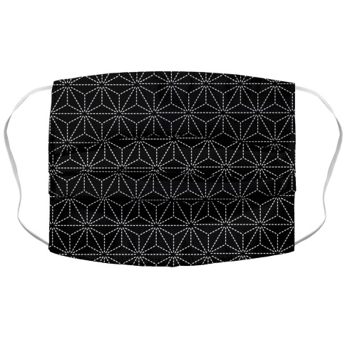 Sashiko Asanoha (Black) Accordion Face Mask
