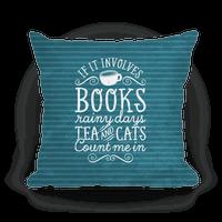 Books, Rainy Days, Tea, and Cats Pillow