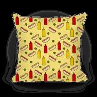 Hot Dog Pattern Pillow
