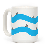 Blue Shark Fins Waves Pattern Mug