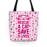 Rescue A Cat Save Nine Lives Tote