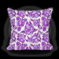Floral Penis Pattern Purple Pillow