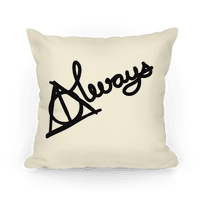 Hallows Always Pillow (Black On White)