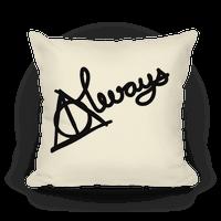 Hallows Always Pillow (Black On White) Pillow