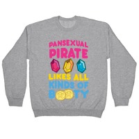 Pansexual pirate likes all kinds of booty t-shirt fitted short sleeve womens