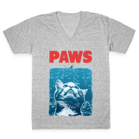 PAWS (Jaws Parody tee) Vneck