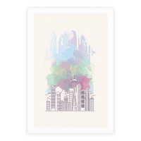 Seattle Graphic Watercolor Cityscape