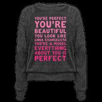 You're Beautiful You Look Like Linda Evangelista White Print Pullover