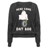 Here Come Dat Boo White Print Pullover