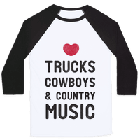 Trucks Cowboys & Country ( Baseball Tee)