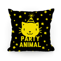 Party Animal Pillow (Yellow On Black)
