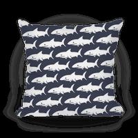 Shark Pattern Pillow (Navy)