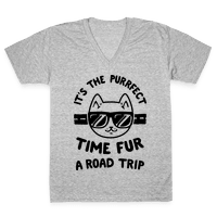 It's the Purrfect Time Fur a Road Trip Vneck