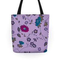 Pretty Floral Pattern Tote (Purple)