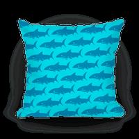Shark Pattern Pillow (Light Blue)
