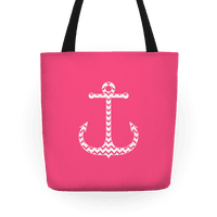Chevron Anchor Tote (Pink and White)