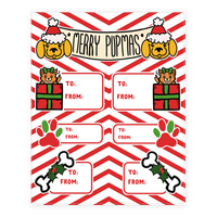 Christmas Puppy Gift Tags Sticker