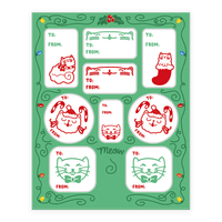 Christmas Cat Gift Tags Sticker