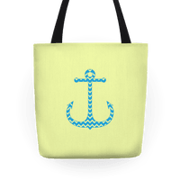 Chevron Anchor Tote (Blue and Yellow)