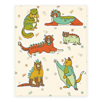 Cats Wearing Dinosaur Costumes Sticker
