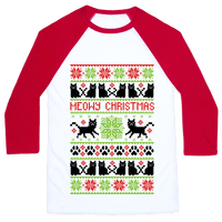 Meowy Christmas Cat Sweater Pattern Baseball