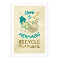 Save The Mermaids Recycle Your Plastic Canvas Poster