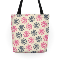 Skull and Lotus Floral Pattern