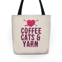 Coffee, Cats and Yarn Tote