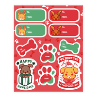 Puppy Dog Christmas Gift Tags Sticker