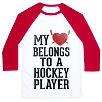 My Heart Belongs To a Hockey Player (Baseball Tee)