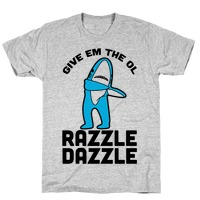 f3c53160 Left Shark Razzle Dazzle Baseball Tee | LookHUMAN
