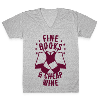 Fine Books & Cheap Wine Vneck