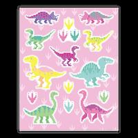Cute Pastel Pixel Dinosaur