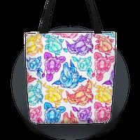 Floral Penis Pattern Rainbow Tote
