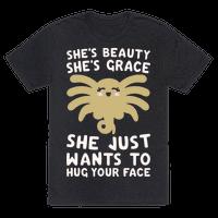 She's Beauty She's Grace Facehugger Parody White Print Tee