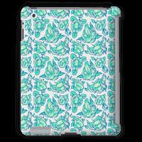 Floral Penis Pattern Teal Tabletcase