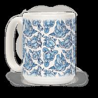 Floral Penis Blue Mug