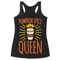Pumpkin Spice Queen White Print Racerback