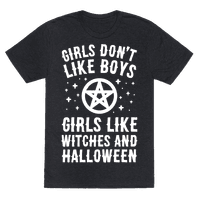 Girls Don't Like Boys Girls Like Witches And Halloween Tee