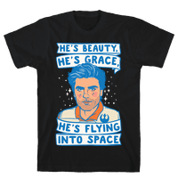 He's Beauty He's Grace He's Flying Into Outer Space Parody White Print