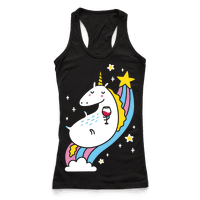 Unicorn Drinking Wine On Rainbow